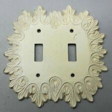"""Vintage Fancy Cast Metal Spelter Double Switchplate 5 1/2"""" x 5 1/2"""" Outlet Cover"""