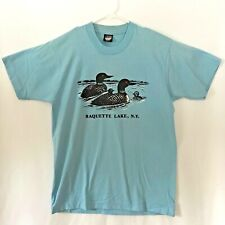 Vtg Screen Stars Best Single Stitch T-Shirt Raquette Lake, Ny Baby Blue Men's Lg