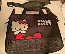 "Hello Kitty Black Laptop Computer Bag 15"" Travel Case Shoulder Strap Clean"