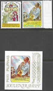 PHILIPPINES: 1987 Canonization of Ruiz set +  min sheet SG2039-40+MS2041 MNH