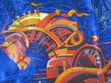 """Wensli 34""""New unused Heavy Silk Twill Scarf Vintage Horse Art Print  Blue Orange"""