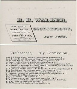 Cooperstown NY HB Walker Real Estate Loan Agent Surveying Antique Trade Card