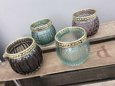 NEW Set of 4 Purple Blue & Gold Glass Moroccan Style Candle Tea Light Holders
