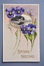 R&L Postcard:  Birthday Embossed Pansy Flowers Chromo