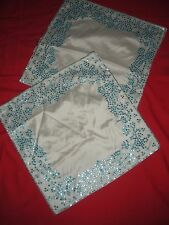 PAIR WEST ELM EMBROIDERED SEQUIN TRIMMED DECORATIVE SILK PILLOW SHAMS NEW W/TAGS