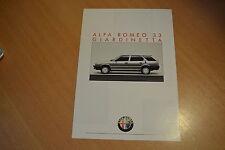 DEPLIANT Alfa Roméo 33 Giardinetta de 1987