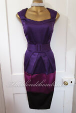 Bravissimo 50 S Couture Style Satin Color Block Wiggle Pinup robe de cocktail 12/14