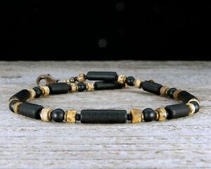 Mens Anklet or Unisex Surfer Ankle Bracelet - Black Onyx, Jasper & 'Beach Glass'