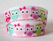 1M X 22mm Grosgrain Ribbon Craft DIY Xmas Decorations Hair Bows - Colourful Owl