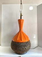 Vintage Mid Century Modern ORANGE GLOSS GLAZE CERAMIC AND CORK LAMP