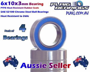 6x10x3mm RC Bearings (4) PTFE Rubber Seal 601004 B028 LOSA6946 31353 MR106-2RS