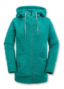 NWT WOMENS VOLCOM BAY SWEATER FLEECE HOODIE $80 S glacier blue full zip