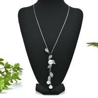 Multilayer Pearl Crystal Leaves Pendant Necklace Sweater Chain Women Jewelry Hot