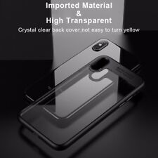 iPhone X Case Hard Clear Back Panel ShockproofProtective iPhone Cover (BLACK)