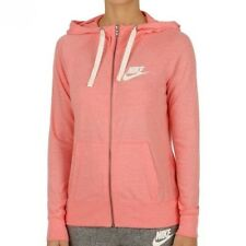 Nike Women's Gym Vintage Full Zip Summer Hoodie Sweatshirt Bright Melon/Sail L