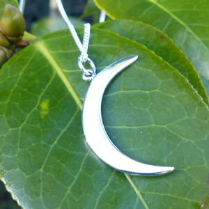 925 Sterling Silver Large Crescent Moon Necklace Celestial Waxing Pendant 1130