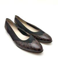 SALVATORE FERRAGAMO Women's Brown Croc Embossed Black Suede Leather Sz 10.5 A2
