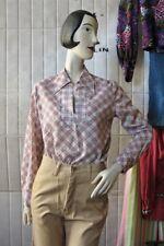 Damenbluse kariert Blumen 40 Oberteil 70er True VINTAGE 70s blouse checkered NOS