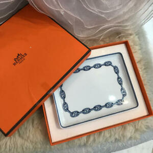 HERMES Chaine d'Ancre Blue Square Side plate Auth #013107