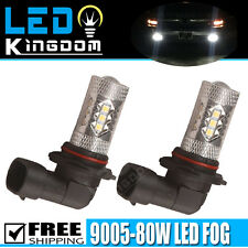 2x HID White 9005 HB3 High Power 80W LED Car Fog Driving Light DRL Bulbs
