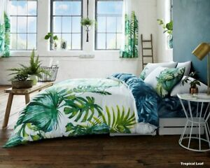 TROPICAL LEAF DUVET COVER SET PALM LEAF TREE BEDDINGS WITH PILLOWCASES ALL SIZES