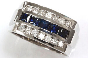 Mens 14K White Gold Over Princess Cut Blue Sapphire Engagement Ring Wedding Band