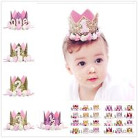 Baby Girls First 1st Birthday Party Hat Crown Headband Or Unicorn Cake Topper