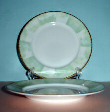 Lalique Limoges Orchidees Bread & Butter 2 Appetizer Plates Green/Gold New