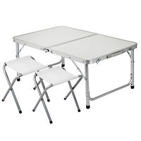 Portable Folding Picnic Camping Set BBQ Party Aluminium Table+2 Foldable Chairs