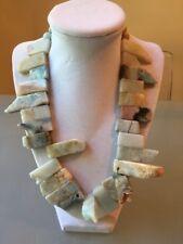 NWOT Sea Foam Multi Color Natural Stone Fringe Statement Necklace