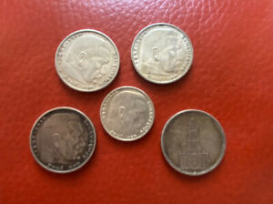 Nazi Germany 5 Silver Coins