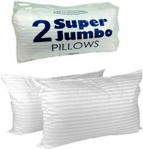 2 x Extra Filled Luxury Hotel Quality Deluxe Bounce Back Pillows Stripe Pillow