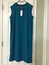 PM  NWT Eileen Fisher Jewel Viscose Jersey Round Neck Calf Lenght Dress
