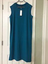 PL  NWT Eileen Fisher Jewel Viscose Jersey Round Neck Calf Lenght Dress