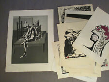 Asian Art Japan Art Woodblock Prints 60er - 70er Years with Signature: 10 Piece