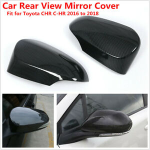Car Rearview Mirror Protect Shell Cover Carbon Fiber Style Fit For CHR 2016-2018