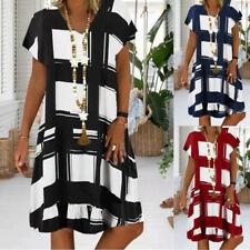 Plus Size Women Summer Check Plaid Dress Ladies Casual Loose Sundress Dresses UK