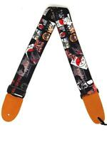 Rock Bands Cotton 2.3 Inches Wide Guitar Strap |100% Cotton with genuine leather