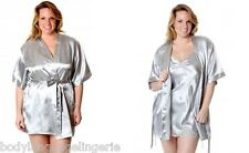 1X/2X/3X silver SHORT SATIN ROBE PLUS SIZE LINGERIE