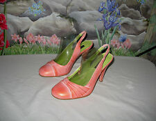 New PRAGUE Metallic Orange & Silver Leather Slingback Heels sz 8