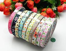 "20yards3/8""mixed 10color dot sewing satin grosgrain ribbon lot wholesale AX-253"