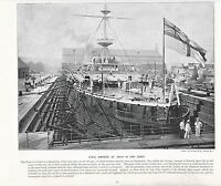 1897 Vittoriano Stampa ~ Hms Imperatrice Di India IN Asciugare Dock Battleship ~