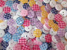 50 x MIXED GINGHAM 2 HOLE RESIN 13mm SEWING BUTTONS, SCRAPBOOKING, CRAFT ETC.,