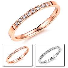 Damen Half Eternity Ring 2 mm Edelstahl 316L Zirkonia  rosegold silber Schmal