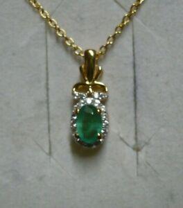 Natural Emerald Pendant Bohemian Vintage Pendant Emerald Zircon Pendant Emerald Small Pendant-925 Sterling Silver Pendant May Birthstone