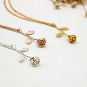 rose pendant necklace single enchanted magical love beauty chain UK petal gift
