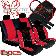 Red Black Butterfly 16 Piece Package Car Steering & Seat Covers Matts + Free