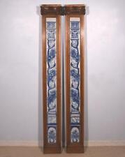Pair of Oak Columns with 1700's Period Delft Faience/Ceramic/Porcelain Tiles