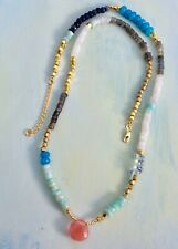 Handcrafted Gold Plated Bohemian Sundance Charm long Necklace Natural Stones NEW