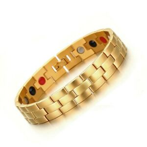 Mens Gold Titanium Steel 4 Elements Magnetic Bio Therapy Bracelet Energy Bangle